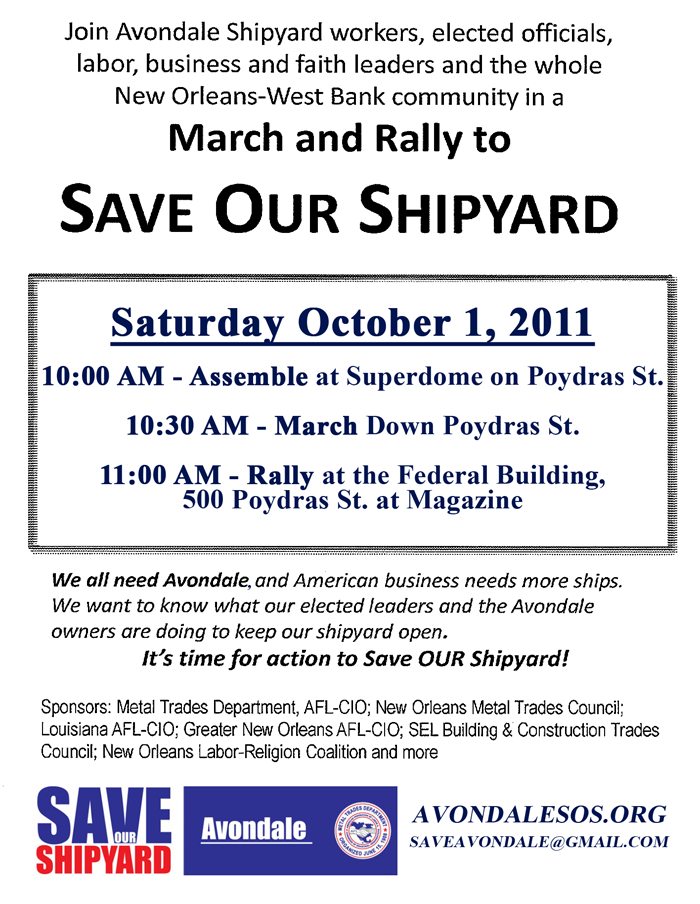 Save Avondale Shipyard March and Rally - October 1, 2011